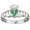 14k White Gold Ladies 3 Emerald Heart Claddagh Ring 10mm