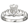 14k White Gold Ladies 3 Diamond Heart Claddagh Ring 10mm