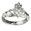 14k White Gold Ladies Diamond Claddagh Ring 12mm