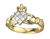 14k Yellow Gold Diamond Ladies Claddagh Ring