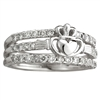 14k White Gold Ladies Diamond Claddagh Dress Ring