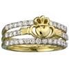 14k Yellow Gold Ladies Diamond Claddagh Dress Ring