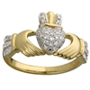 14k Yellow Gold Ladies Micro Diamond Claddagh Ring 10mm