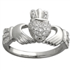 14k White Gold Ladies Micro Diamond Claddagh Ring 10mm