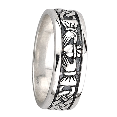 Sterling Silver Men's Oxidized Celtic Claddagh Ring 7mm