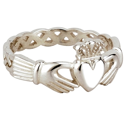 Sterling Silver Ladies Celtic Weave Claddagh Ring