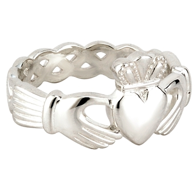 Sterling Silver Men's Celtic Weave Claddagh Ring