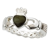 Sterling Silver Ladies Connemara Marble Claddagh Ring