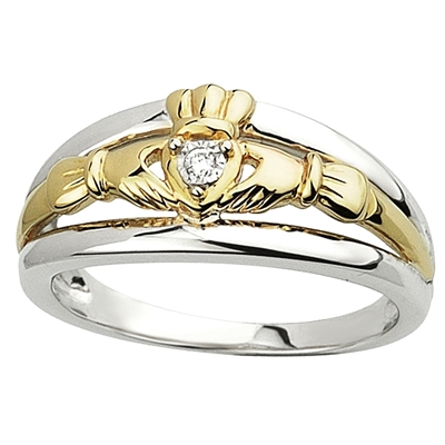 Sterling Silver 10k Yellow Gold Diamond Ladies Claddagh Ring