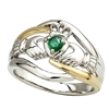 14k White Gold Ladies Emerald Claddagh Ring