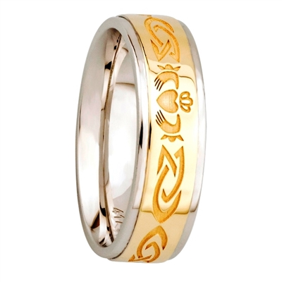 Sterling Silver 10k Yellow Gold Ladies Claddagh Wedding Ring