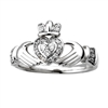 14k White Gold Ladies Diamond Claddagh Ring 10mm