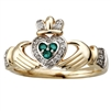 14k Yellow Gold Ladies Emerald & Diamond Claddagh Ring 10mm