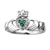 14k White Gold Ladies Emerald & Diamond Claddagh Ring 10mm