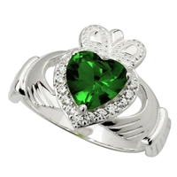 Sterling Silver Large Green Crystal Heart Ladies Claddagh Ring