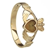 10k Yellow Gold Connemara Marble Heart Ladies Claddagh Ring 10mm