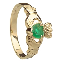 10k Yellow Gold Emerald Heart Ladies Claddagh Birthstone Ring 9mm