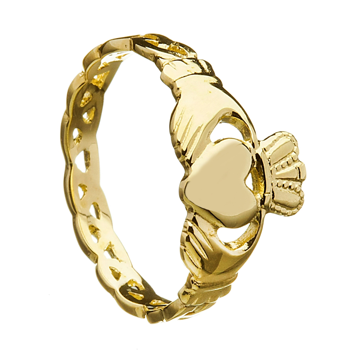 Yellow Gold Ladies Open Braided Shank Claddagh Ring 10mm