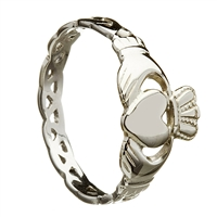 10k White Gold Ladies Open Braided Shank Claddagh Ring 10mm