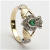 10k Yellow Gold Green Agate & CZ Cluster Claddagh Ring 13mm