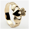 10k Yellow Gold Ladies Braided Shank Claddagh Ring 10mm