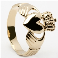 10k Yellow Gold Men's Braided Shank Claddagh Ring 14mm