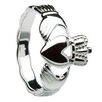 10k White Gold Men's Braided Shank Claddagh Ring 14mm
