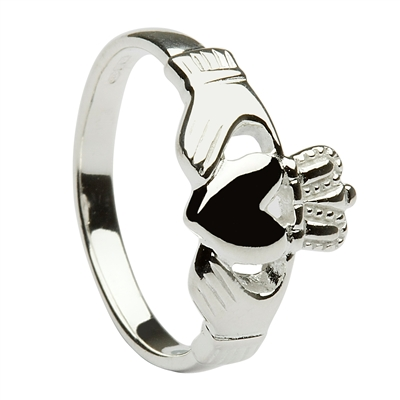 10k White Gold Heavy Traditional Ladies Claddagh Ring 11mm