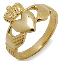 10k Yellow Gold Heavy Men's Claddagh Ring 14mm