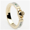 10k Yellow Gold Emerald & Diamond Ladies Claddagh Ring 5mm