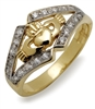 10k Yellow Gold Diamond Claddagh Ring 7.7mm