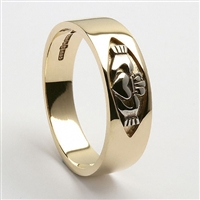 10k Yellow Gold Men's Claddagh Ring 7mm