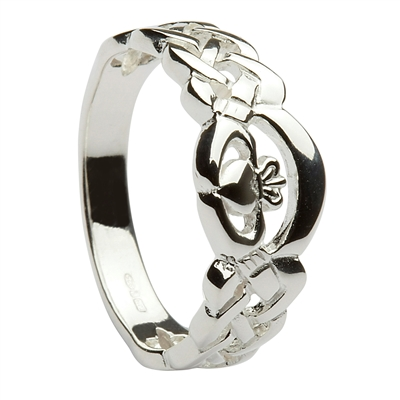 10k White Gold Ladies Nua Celtic Claddagh Ring 8mm