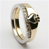 10k Gold Ladies 2 Part Diamond Claddagh Ring 7mm