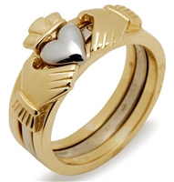10k Yellow/White Gold Ladies 3 Part Claddagh Ring 5mm