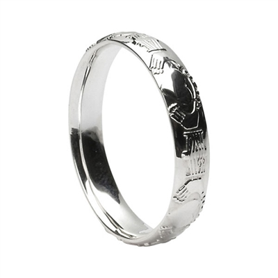 10k White Gold Ladies Claddagh Wedding Ring 3.8mm - Comfort Fit