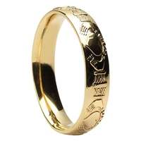 10k Yellow Gold Men's Claddagh Wedding Ring 5mm - Comfort Fit