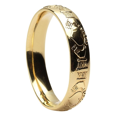 14k Yellow Gold Men's Claddagh Wedding Ring 5mm - Comfort Fit