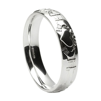 14k White Gold Men's Claddagh Wedding Ring 5mm - Comfort Fit
