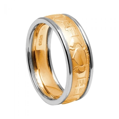 10k Yellow Gold Men's Claddagh Wedding Ring 7.8mm