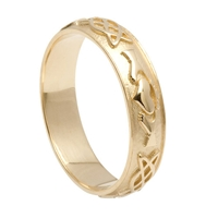 10k Yellow Gold Men's Celtic Knot Claddagh Wedding Ring 5.7mm