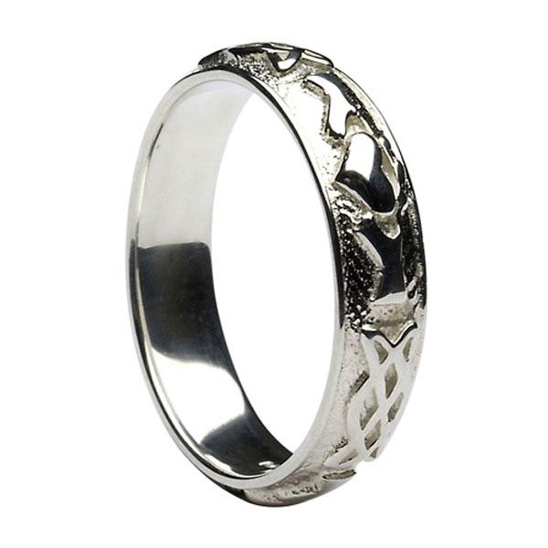 10k White Gold Men S Celtic Knot Claddagh Wedding Ring 5 7mm