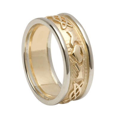 14k Yellow Gold Men's Embossed Celtic Knot Claddagh Wedding Ring 8.6mm