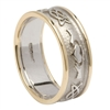 10k White Gold Men's Embossed Celtic Knot Claddagh Wedding Ring 8.6mm