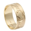 10k Yellow Gold Men's Xtra Wide Claddagh Wedding Ring 9.3mm