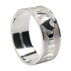 10k White Gold Men's Xtra Wide Claddagh Wedding Ring 9.3mm