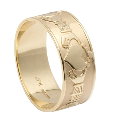 14k Yellow Gold Men's Xtra Wide Claddagh Wedding Ring 9.3mm