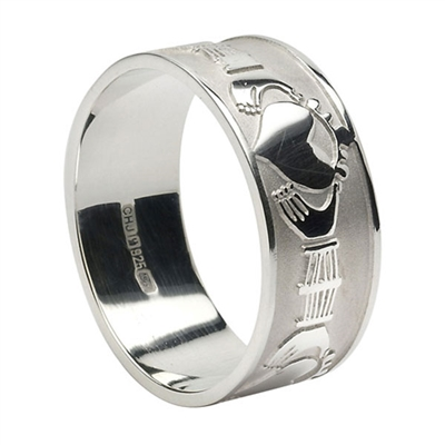 Sterling Silver Men's Extra Wide Claddagh Wedding Ring 9.3mm