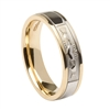 10k White & Yellow Gold Men's Claddagh Wedding Ring 5mm