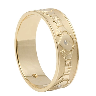 10k Yellow Gold & Diamond Men's Claddagh Wedding Ring 7.2mm